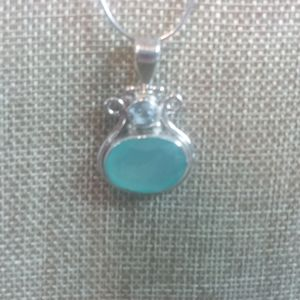 New Sterling aquamarine pendant on Sterling chain